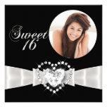 Sweet Sixteen 16 Birthday Party Black White Custom Invitations