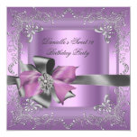 Sweet Sixteen 16 Birthday Party Lilac Pink Silver Personalised Invitation