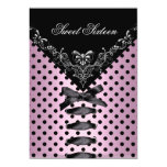 Sweet Sixteen 16 Birthday Party Pink Black Spot 3 Invitations