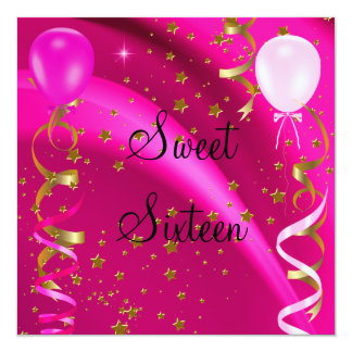 Sweet Sixteen 16 Birthday Party Pink Stars Card