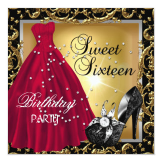 Sweet Sixteen 16  Birthday Party Red Gold Dress 13 Cm X 13 Cm Square Invitation Card