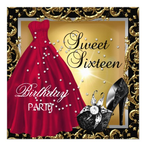 Sweet Sixteen 16  Birthday Party Red Gold Dress Announcements