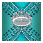 Sweet Sixteen 16 Birthday Party Teal Blue Beads Personalized Announcements