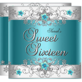 Sweet Sixteen 16 Birthday Party Teal Blue Diamond Card