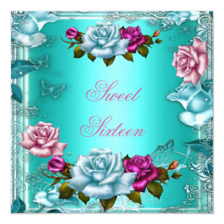 Sweet Sixteen 16 Birthday Party Teal Pink Roses 3 Card