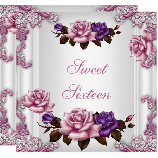 Sweet Sixteen 16 Birthday Party White Pink Roses Card