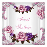 Sweet Sixteen 16 Birthday Party White Pink Roses Invite