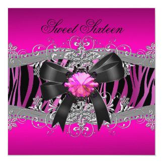 Pink Zebra Black Birthday Party Invitations Announcements