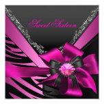 Sweet Sixteen 16 Birthday Party Zebra Pink Black Custom Invites