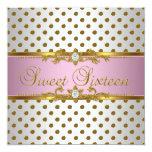 Sweet Sixteen 16 Birthday Pink White Gold Spot 13 Cm X 13 Cm Square Invitation Card