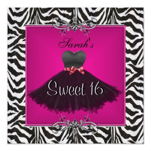 Sweet Sixteen 16 Birthday Pink Zebra Black Dress 13 Cm X 13 Cm Square Invitation Card