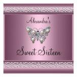 Sweet Sixteen 16 Birthday Satin Pink Butterfly Custom Invites