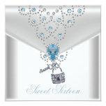 Sweet Sixteen 16 Elegant White Silver Blue Jewel Invitation