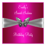"Sweet Sixteen 16 Fuschia Silver Butterfly Jewel 5.25"" Square Invitation Card"