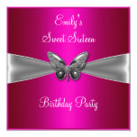 Sweet Sixteen 16 Fuschia Silver Butterfly Jewel 5.25x5.25 Square Paper Invitation Card