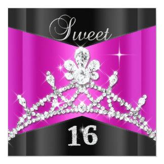 Sweet Sixteen 16 Hot Pink Black Silver Tiara Card