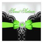 Sweet Sixteen 16 Lime Black White Lace Custom Invite