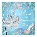 Sweet  Sixteen 16 Masquerade Party Blue Tiara Shoe Personalised Invite