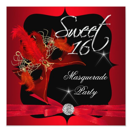 Sweet Sixteen 16 Masquerade Red Black Card