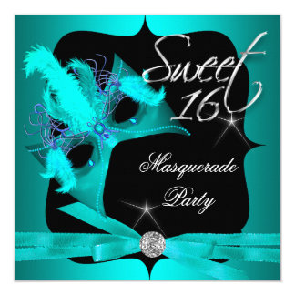 Sweet Sixteen 16 Masquerade Teal Blue 13 Cm X 13 Cm Square Invitation Card