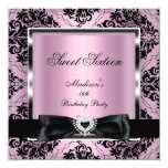 Sweet Sixteen 16 Party Pink Damask Silver Black 5.25x5.25 Square Paper Invitation Card
