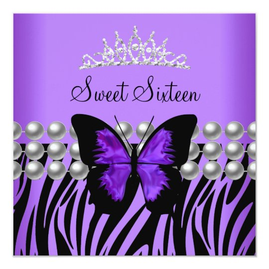 Sweet Sixteen 16 Party Zebra Pearl Butterfly Card