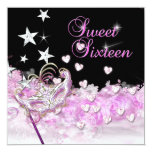 Sweet Sixteen 16 Pink Mask Hearts Stars Personalised Invites