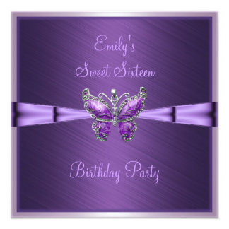 Sweet Sixteen 16 Purple Butterfly Birthday 2 13 Cm X 13 Cm Square Invitation Card
