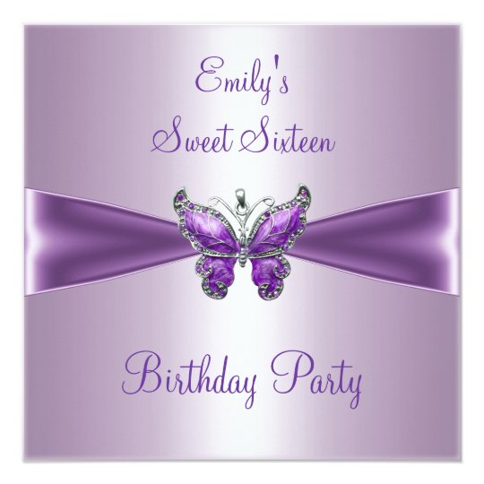 Sweet Sixteen 16 Purple Mauve Butterfly Birthday Card