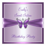 Sweet Sixteen 16 Purple Mauve Butterfly Birthday Personalised Announcements