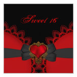 Sweet Sixteen 16 Red Black Lace Heart Gothic Personalised Invitation