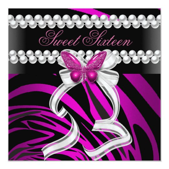 Sweet Sixteen 16 Zebra Butterfly Black Pink White Card