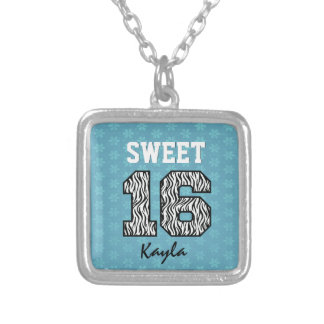 Sweet Sixteen 16 Zebra with AQUA BLUE Custom V08 Silver Plated Necklace
