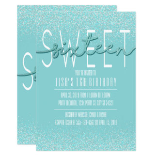 Sweet Sixteen, Aqua Glitter Birthday Invitations