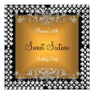 Sweet Sixteen Birthday 16 16th Gold Silver Black 13 Cm X 13 Cm Square Invitation Card