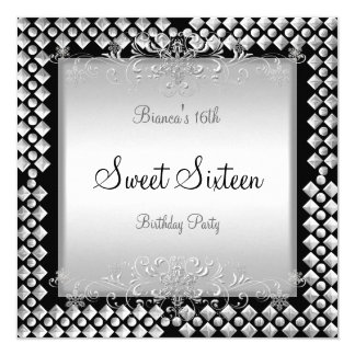 Sweet Sixteen Birthday 16 16th Silver Black Card