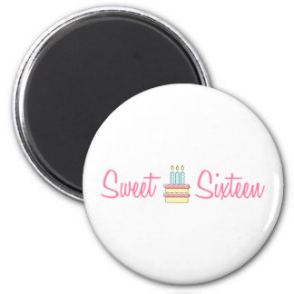 Sweet Sixteen (Birthday Cake) 6 Cm Round Magnet