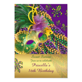 "Sweet Sixteen Birthday invitation,""16th"",""Venezia 13 Cm X 18 Cm Invitation Card"