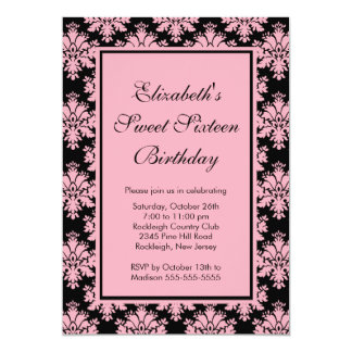 Sweet Sixteen Birthday Invitation Pink Damask