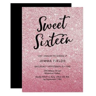 Sweet Sixteen Birthday Invitation pink glitter