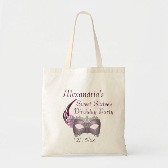 """Sweet Sixteen Birthday"" - Lavender/Pink Lace Mask Tote Bag"