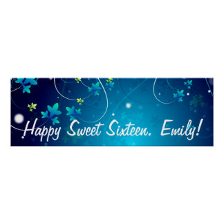 Sweet Sixteen Birthday Party Banner Poster