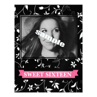 Sweet Sixteen Birthday Party Black White Floral Custom Invite