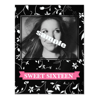 Sweet Sixteen Birthday Party Black White Floral 4.25x5.5 Paper Invitation Card