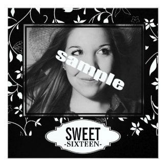 Sweet Sixteen Birthday Party Black White Floral Invitation