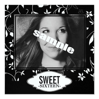 """Sweet Sixteen Birthday Party Black White Floral 5.25"""" Square Invitation Card"""