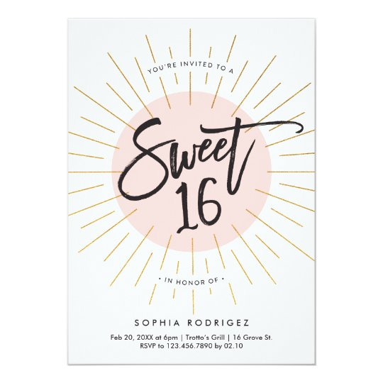 Sweet sixteen birthday party invitation faux foil