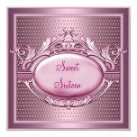 Sweet Sixteen Birthday Party Satin Pink Dots 13 Cm X 13 Cm Square Invitation Card