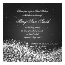 Sweet Sixteen Birthday Party Sparkling Wave Black Custom Announcements