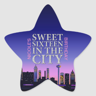 Sweet Sixteen Birthday Personalized Star Stickers